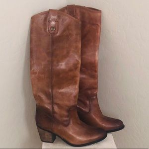 Vince Camuto genuine tan leather riding boots